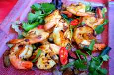 Chili, garlic and ginger prawns
